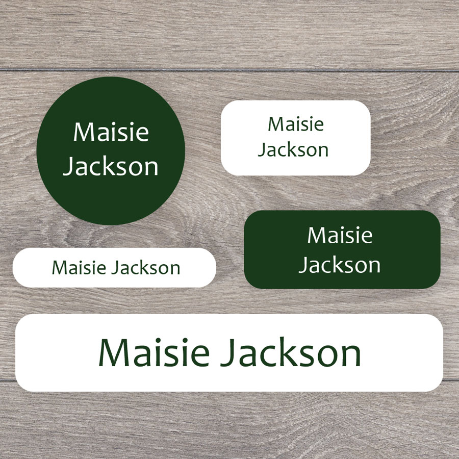 Essentials name labels (Green) perfect for labelling your childs lunchbox, bottles, clothes ready for nursery or school