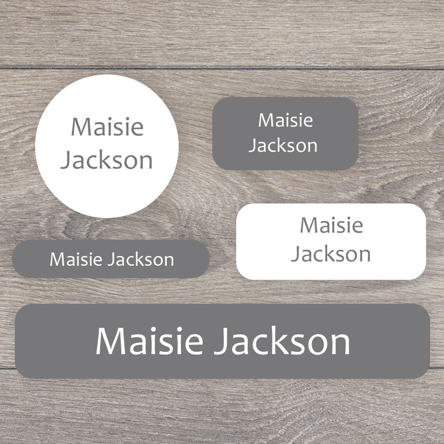 Essentials name labels (Grey) perfect for labelling your childs lunchbox, bottles, clothes ready for nursery or school