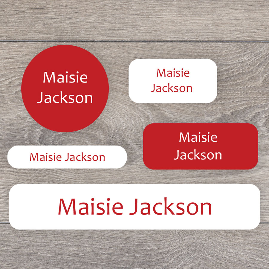 Essentials name labels (Red) perfect for labelling your childs lunchbox, bottles, clothes ready for nursery or school