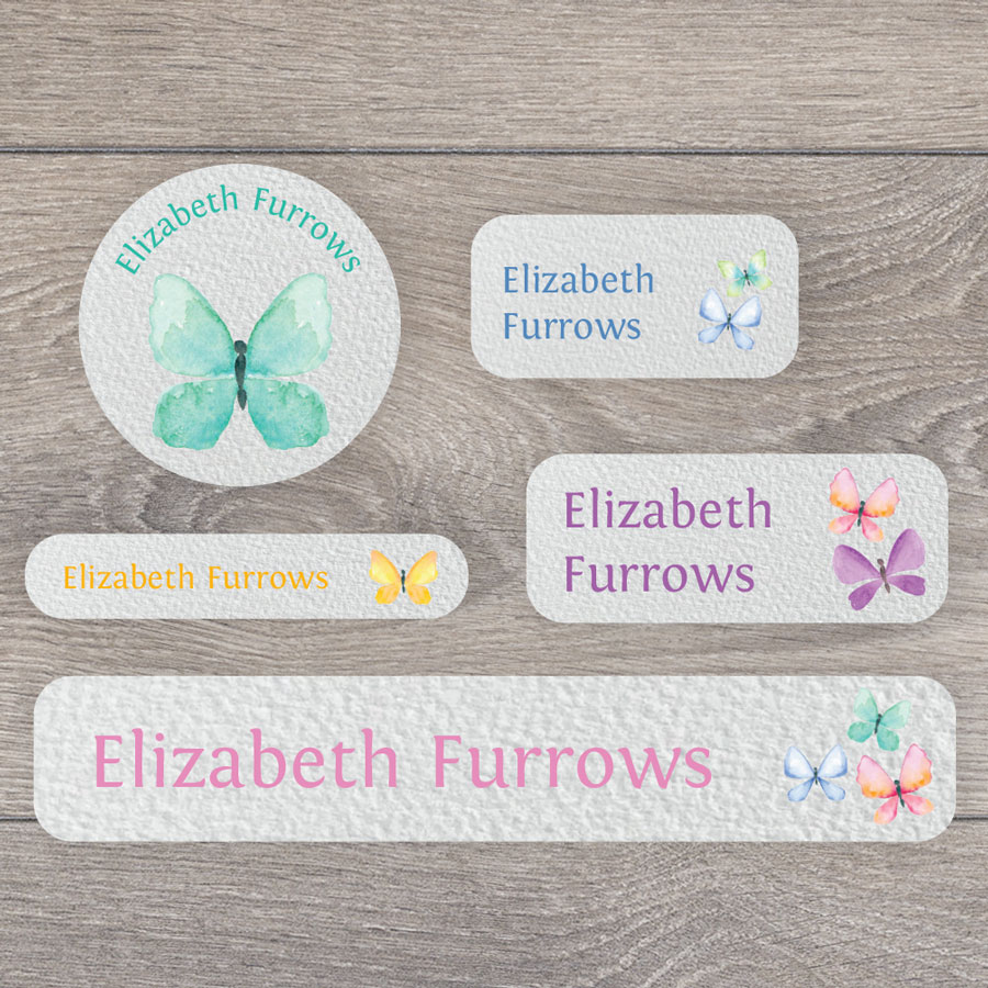 Butterfly name labels perfect for labelling your childs lunchbox, bottles, clothes ready for nursery or school