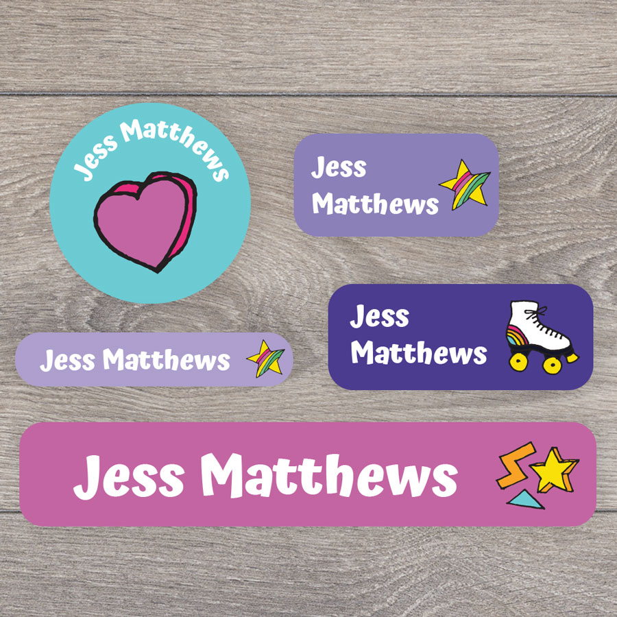 Retro doodles name labels perfect for labelling your childs lunchbox, bottles, clothes ready for nursery or school
