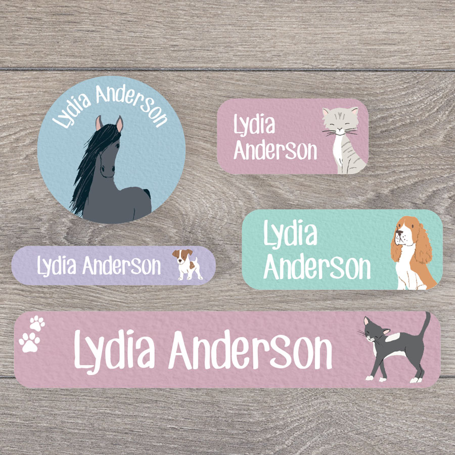 Pets name labels perfect for labelling your childs lunchbox, bottles, clothes ready for nursery or school