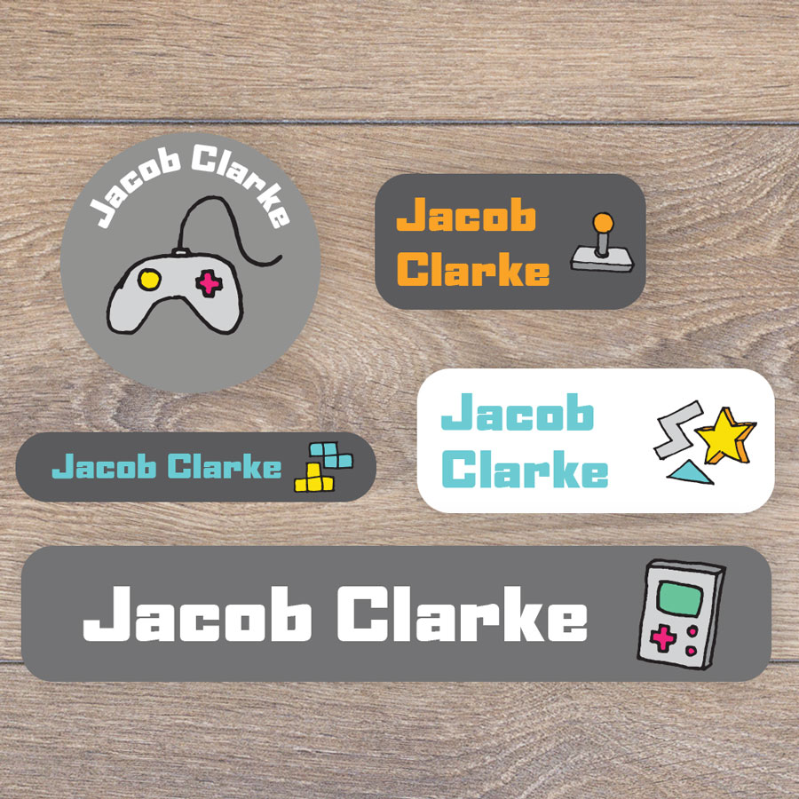 Gaming name labels perfect for labelling your childs lunchbox, bottles, clothes ready for nursery or school
