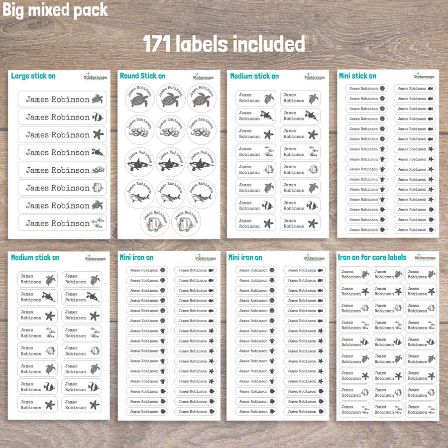 Sea creatures big mixed name label pack sheet layout