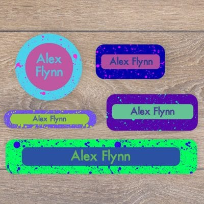 Splatter name labels perfect for labelling your childs lunchbox, bottles, clothes ready for nursery or school