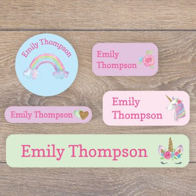 Unicorns and rainbows name labels perfect for labelling your childs lunchbox, bottles, clothes ready for nursery or school