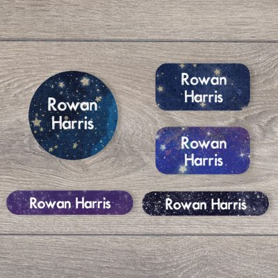 Night sky iron on name labels perfect for labelling your child's clothes or uniform for school or nursery