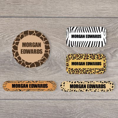 Safari (Option 1) iron on name labels perfect for labelling your child's clothes or uniform for school or nursery