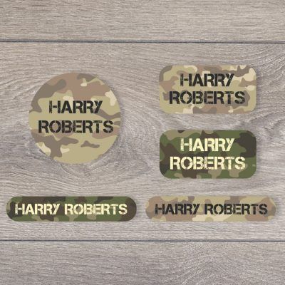 Camouflage iron on name labels perfect for labelling your child's clothes or uniform for school or nursery