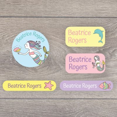 Mermaid (Option 1) iron on name labels perfect for labelling your child's clothes or uniform for school or nursery