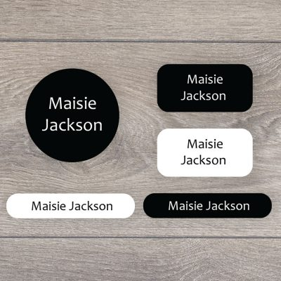 Essentials (Black and white) iron on name labels perfect for labelling your child's clothes or uniform for school or nursery