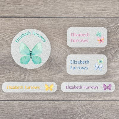 Butterfly iron on name labels perfect for labelling your child's clothes or uniform for school or nursery