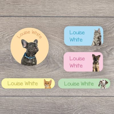 Puppies and kittens iron on name labels perfect for labelling your child's clothes or uniform for school or nursery