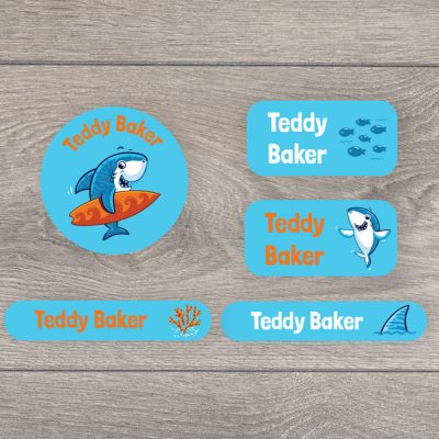 Little shark iron on name labels perfect for labelling your child's clothes or uniform for school or nursery