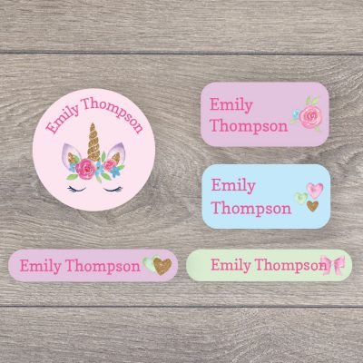 Unicorns and rainbows iron on name labels perfect for labelling your child's clothes or uniform for school or nursery