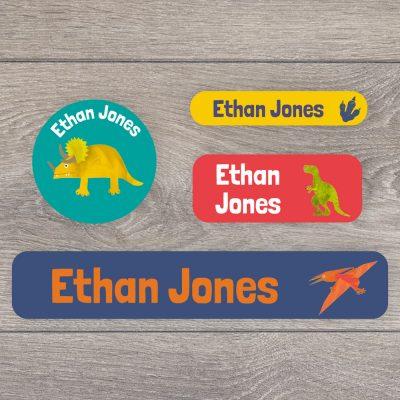 Dinosaur stick on name labels