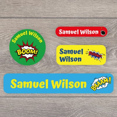 Comic book stick on name labels