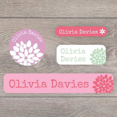 Flower stick on name labels