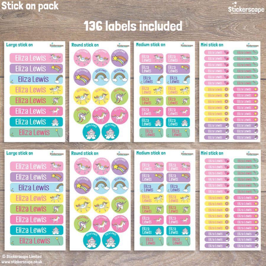 Unicorn stick on name labels (Option 1) pack layout