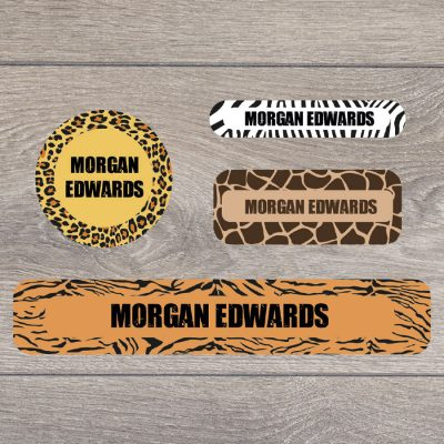 Safari (Option 1) stick on name labels perfect for labelling your child's lunch boxes, water bottles, shoes and much more!