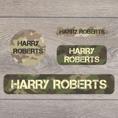 Camouflage stick on name labels perfect for labelling your child's lunch boxes, water bottles, shoes and much more!