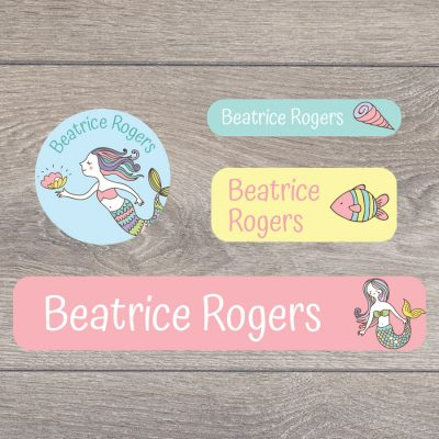Mermaid (Option 1) stick on name labels perfect for labelling your child's lunch boxes, water bottles, shoes and much more!