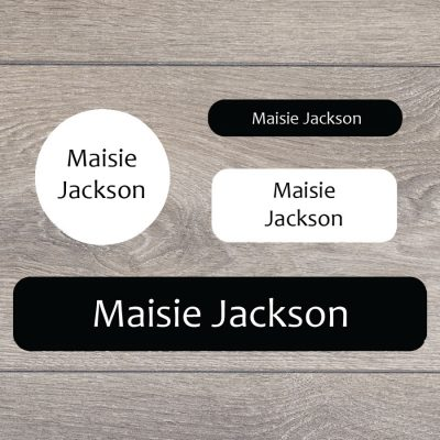 Essentials (Black and white) stick on name labels perfect for labelling your child's lunch boxes, water bottles, shoes and much more!