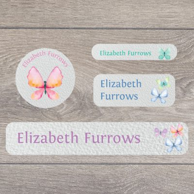 Butterfly stick on name labels perfect for labelling your child's lunch boxes, water bottles, shoes and much more!