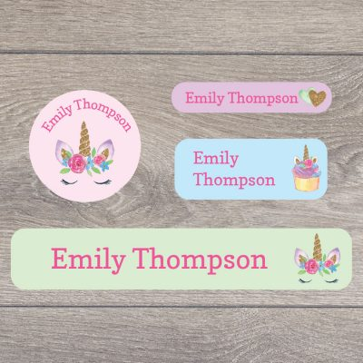 Unicorns and rainbows stick on name labels perfect for labelling your child's lunch boxes, water bottles, shoes and much more!