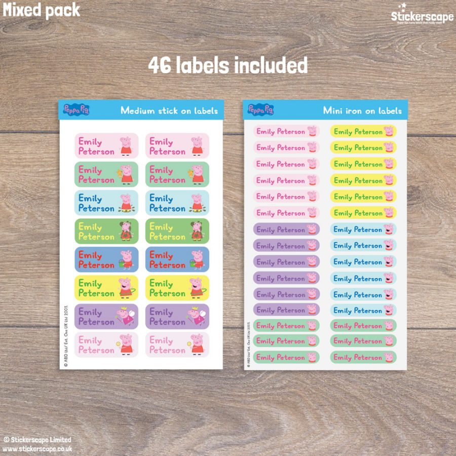 Peppa Pig name labels little mixed pack - pack layout