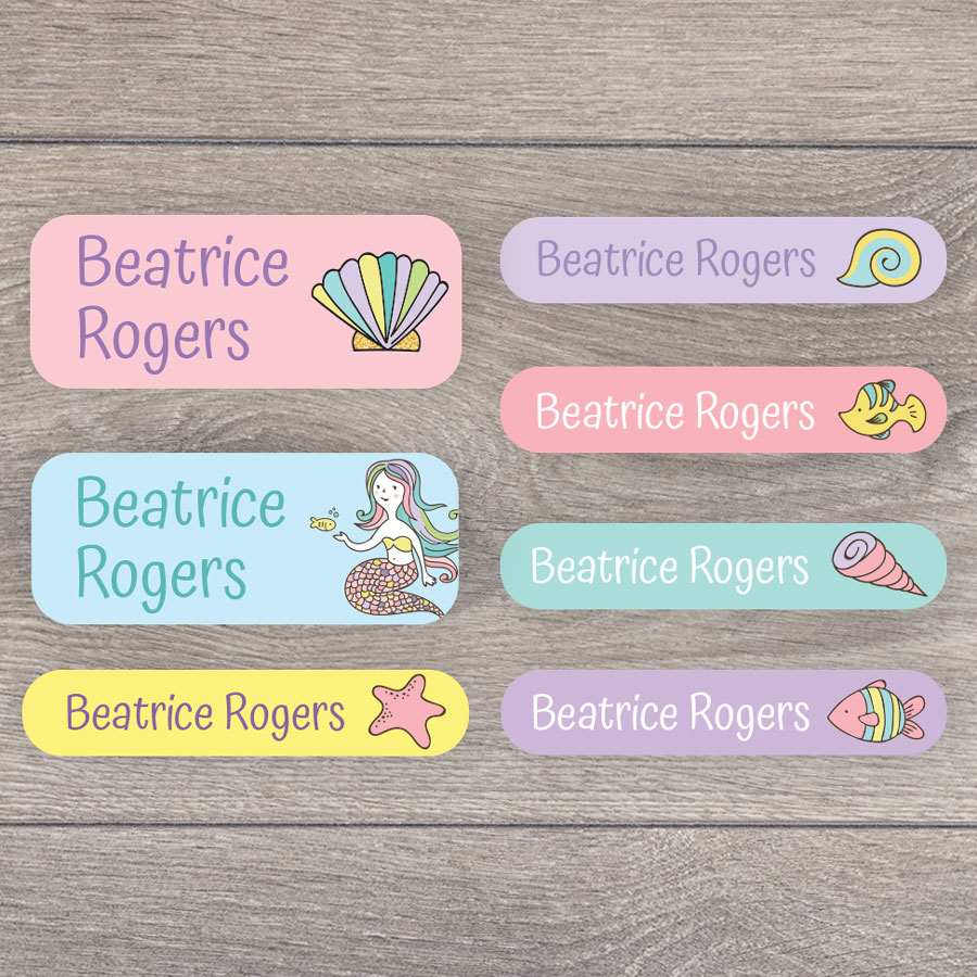 Mermaid name labels perfect for labelling your childs lunchbox, bottles, clothes ready for nursery or school