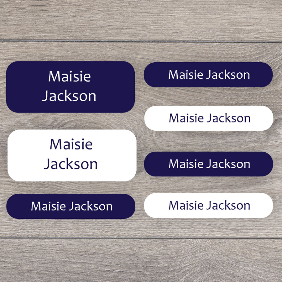 Essentials name labels (Navy) perfect for labelling your childs lunchbox, bottles, clothes ready for nursery or school