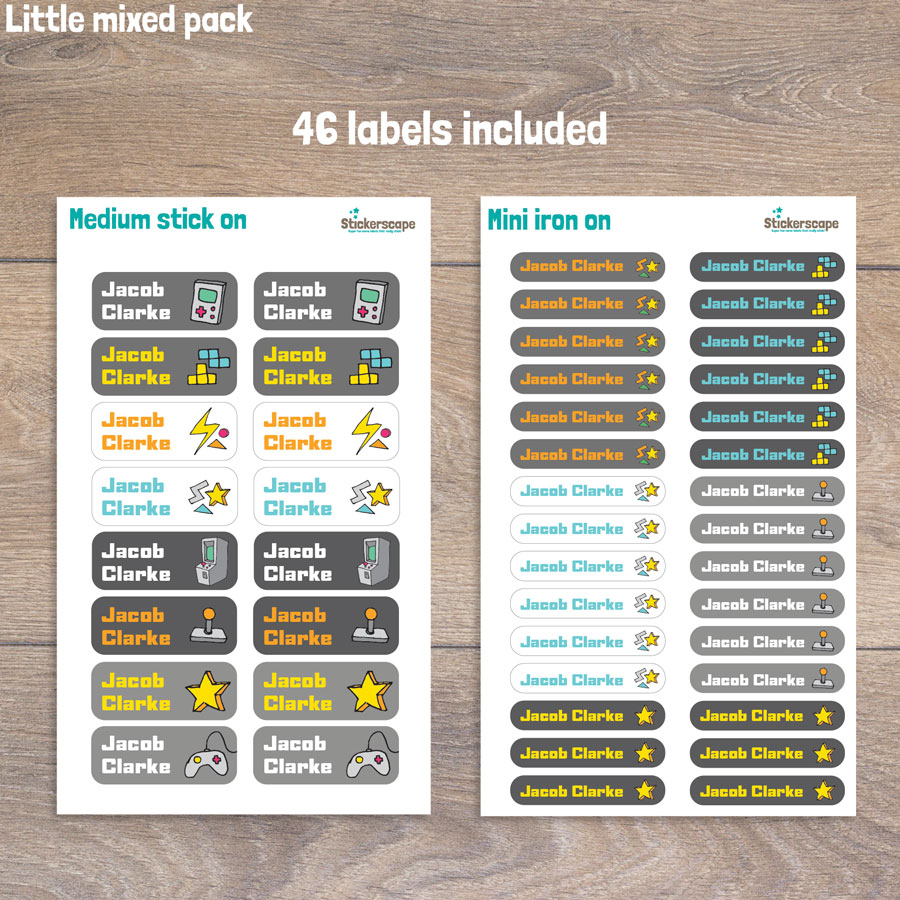 Gaming little name label pack sheet layout