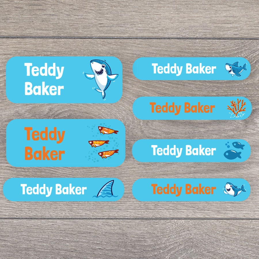 Little shark name labels perfect for labelling your childs lunchbox, bottles, clothes ready for nursery or school