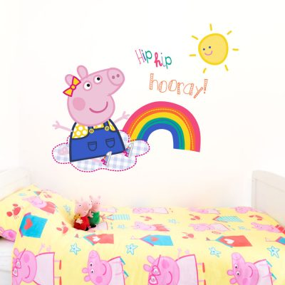 Peppa Pig sunshine wall sticker in large size perfect for positioning above bed to brighten up your child's room