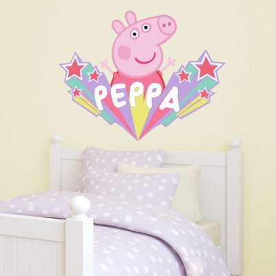 Peppa Pig starburst wall sticker in large perfect for decorating above a child's bed