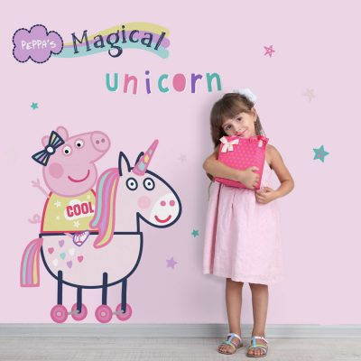 Peppa Pig magical unicorn wall sticker in large size perfect for decorating a child's bedroom with a Peppa Pig theme