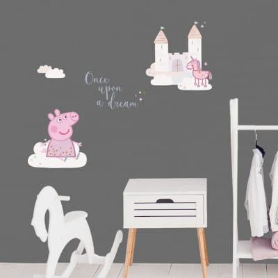 Once upon a dream with Peppa Pig wall sticker perfect for decorating a childs bedroom with a Peppa Pig theme featuring Peppa, clouds, castle and a unicorn!