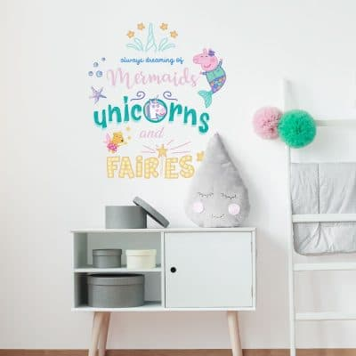 Dreaming of mermaids, unicorns and fairies wall sticker featuring Peppa Pig is a great way to add a mermaid and Peppa Pig theme to your childs room