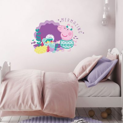 Mermazing Peppa Pig wall sticker perfect for decorating a child's room with an underwater Peppa Pig theme