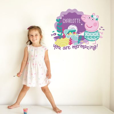 Personalised mermazing Peppa Pig wall sticker perfect for decorating a child's room with an underwater Peppa Pig theme