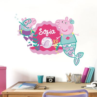 Personalised Peppa pearl wall sticker perfect for decorating a child's bedroom with an underwater Peppa Pig theme