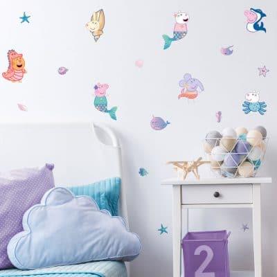 Peppa & Friends mermaid wall sticker pack
