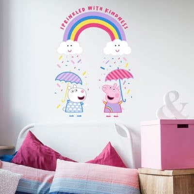 Peppa sprinkled with kindness rainbow wall sticker perfect for creating a bright Peppa Pig theme for a child's bedroom