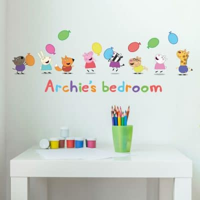 Personalised Peppa & Friends with Balloons wall sticker (Regular size) features Peppa Pig and all her friends and is the perfect addition to a decorating a child's bedroom
