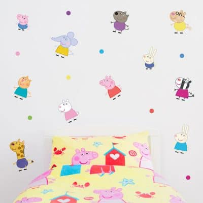 Peppa and friends stickaround wall sticker pack perfect for creating a Peppa Pig theme in your child's bedroom and features Peppa Pig, George and all of Peppa's friends