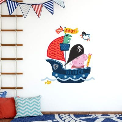 Personalised pirate ship with George wall sticker (Large size) perfect for creating a unique Peppa Pig theme for your kid's room