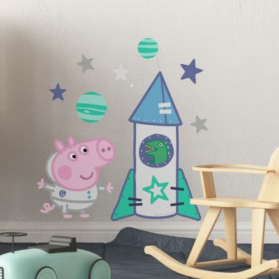 George's space rocket wall sticker (Regular size) perfect for decorating your child's room with a space and Peppa Pig theme