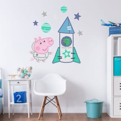 Personalised space rocket with George wall sticker (Large size) is perfect for decorating child's bedroom with a Peppa Pig and a space theme