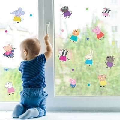 Peppa and friends window sticker pack perfect for decorating your child's windows with a Peppa Pig theme
